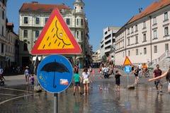 La Slovénie, Ljubljana, place de pluie Photographie stock