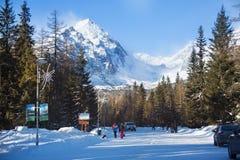 LA SLOVACCHIA, STRBSKE PLESO - 6 GENNAIO 2015: Vista della montagna di Predne Solisko dalla stazione sciistica Strbske Pleso Immagini Stock Libere da Diritti