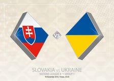 La Slovaquie contre l'Ukraine, ligue B, groupe 1 Competit du football de l'Europe illustration stock