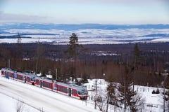 LA SLOVAQUIE, SMOKOVEC CORNÉ - 5 JANVIER 2015 : Le train électrique à grande vitesse est arrivé sur la gare ferroviaire dans Smok Image libre de droits