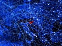 La Slovenia sulla mappa digitale blu con le reti Concetto del viaggio internazionale, della comunicazione e della tecnologia illu royalty illustrazione gratis