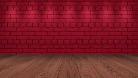 La sobremesa de madera marrón en el fondo es un ladrillo viejo rojo Efecto del proyector sobre la pared - puede ser utilizado par stock de ilustración