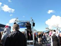 La société de DFDS célèbrent 150 ans d'anniversaire de service dans Klaipeda, Lithuanie Photo libre de droits