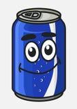 La soda o el refresco azul de la historieta puede Foto de archivo