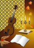 La soirée d'automne avec son violon Photos libres de droits