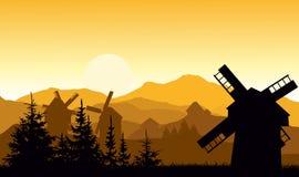 La soirée dans le village de montagne illustration de vecteur