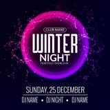 La soirée dansante, DJ luttent la conception d'affiche Partie de disco d'hiver Insecte d'événement de musique ou calibre d'illust Photos stock