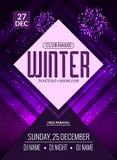 La soirée dansante, DJ luttent la conception d'affiche Partie de disco d'hiver Insecte d'événement de musique ou calibre d'illust Images stock