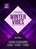 La soirée dansante, DJ luttent la conception d'affiche Partie de disco d'hiver Insecte d'événement de musique ou calibre d'illust Photographie stock libre de droits