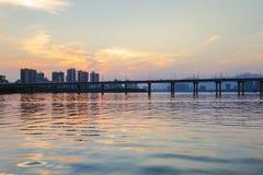 la soirée de la rivière Photo libre de droits