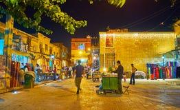 La soirée sur le marché de Chiraz, l'Iran Image libre de droits