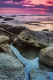 La soirée sur la plage Images libres de droits