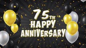 la soixante-quinzième salutation heureuse et les souhaits de noir d'anniversaire avec des ballons, confettis ont fait une boucle  illustration libre de droits