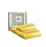 La sola pila del dinero dobló con las barras de oro aisladas ilustración del vector