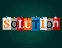 La solución de la palabra hecha de las letras del periódico atadas a una pizarra o a un noticeboard con los imanes Vector Fotos de archivo libres de regalías