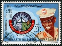La SOMALIA - 1976: manifestazioni medico ed emblema della società dell'aiuto, serie di sollievo di carestia Fotografia Stock Libera da Diritti