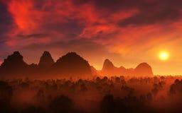 La sombra aterriza paisaje épico de la puesta del sol stock de ilustración