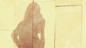 La sombra del sol y la silueta de una muchacha joven y hermosa que llama por el teléfono Marca y el hablar en el smartphone metrajes
