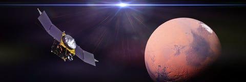 La sonde d'espace de VIRTUOSE devant la planète Mars et le Sun 3d rendent, des éléments de cette image sont fournies par la NASA illustration libre de droits