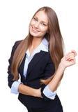 La sonrisa joven feliz de la mujer de negocios aisló en whi Fotos de archivo