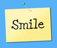 La sonrisa sonriente indica emociones y el positivo del cartel Fotos de archivo