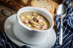 La sopa amarga hecha de la harina de centeno imagenes de archivo