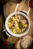 La sopa amarga hecha de la harina de centeno imagen de archivo