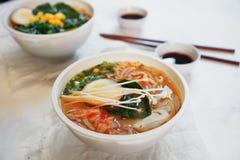 La sopa asiática tradicional con los tallarines, cebolla de la primavera, pollo de los ramen, cortó el huevo Fotos de archivo libres de regalías