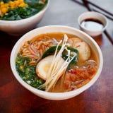 La sopa asiática tradicional con los tallarines, cebolla de la primavera, pollo de los ramen, cortó el huevo Imágenes de archivo libres de regalías