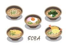 La sopa de fideos japonesa en vector de los cuencos en el fondo blanco ilustración del vector