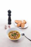 La sopa de habas en la placa blanca con la cuchara del metal, varias tuesta en pizca Foto de archivo libre de regalías