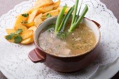 La sopa de setas salvaje del bosque sirvió con la patata frita foto de archivo