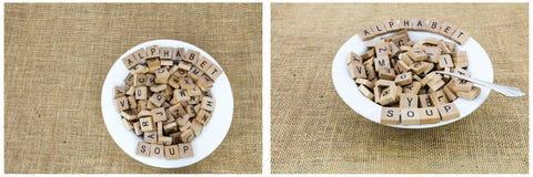 La sopa del alfabeto pone letras al deletreo Fotos de archivo libres de regalías