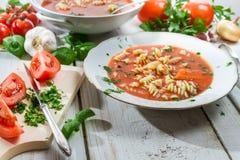 La sopa del tomate hizo ââof verduras frescas Fotos de archivo libres de regalías