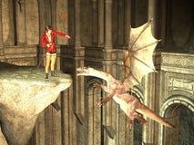 La sorcière apprivoise le dragon avec le charme Photographie stock libre de droits