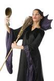 La sorcière avec le balai photos stock