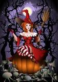 La sorcière avec une corneille Photos libres de droits