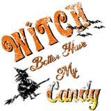 La sorcière de Halloween meilleure prennent ma sucrerie s'est fanée illustration libre de droits