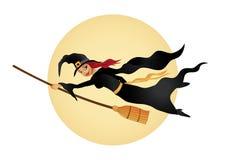 La sorcière de Veille de la toussaint pilote l'esprit son balai Image stock