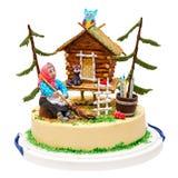 La sorcière et la maison durcissent avec la forêt, hibou, chat, bougie, d'isolement sur le blanc photos stock