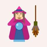 La sorcière mauvaise avec la boule des prévisions et le balai dirigent l'illustration Image stock