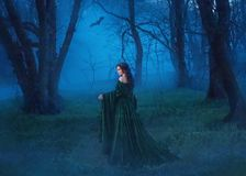 La sorcière séduisante dans une robe longue bleue de velours avec un long train marche par la forêt de nuit à la recherche de la  photo stock