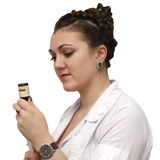 La sorella medica raccoglie i farmaci Fotografia Stock