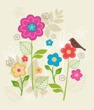 La sorgente traversa i fiori ed il vettore volando dell'uccello Fotografie Stock Libere da Diritti