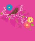 La sorgente traversa i fiori ed il vettore volando dell'uccello Immagini Stock Libere da Diritti