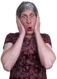 La sorpresa fea del choque de la abuela de la señora mayor asustada asustó Imagenes de archivo