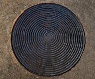 La souillure de la plaque métallique de cercle Photographie stock