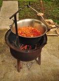 La soupe à goulache traditionnelle bout dans un chaudron Photographie stock libre de droits