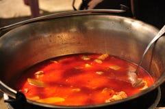 La soupe à goulache traditionnelle fait cuire dans un chaudron Images stock