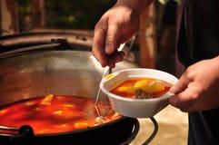 La soupe à goulache traditionnelle fait cuire dans un chaudron Image libre de droits